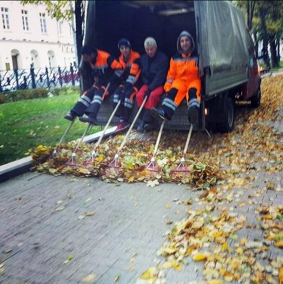 Уборка листьев в Москве
